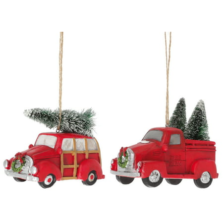 Old Truck and Woody Car Rosy Red 4 x 4 Resin Stone Holiday Ornaments Set of 2