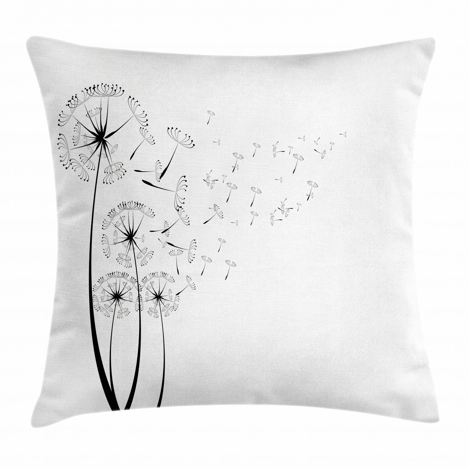 Dandelion Throw Pillow Cushion Cover Monochrome Dandelions With Seeds Blowing In The Wind Fluffy Flower Romance Theme Decorative Square Accent Pillow Case 16 X 16 Inches Black White By Ambesonne Walmart Com