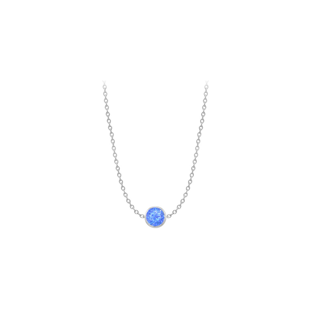 Blue Created Sapphire Necklace on 14K White Gold Bezel Set 2.00 ct.tw - image 3 of 3