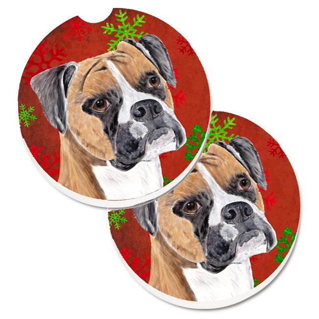 Carolines Treasures SC9430CARC Boxer Red & Green Snowflakes Holiday Christmas Set of 2 Cup Holder Car Coaster - image 1 de 1
