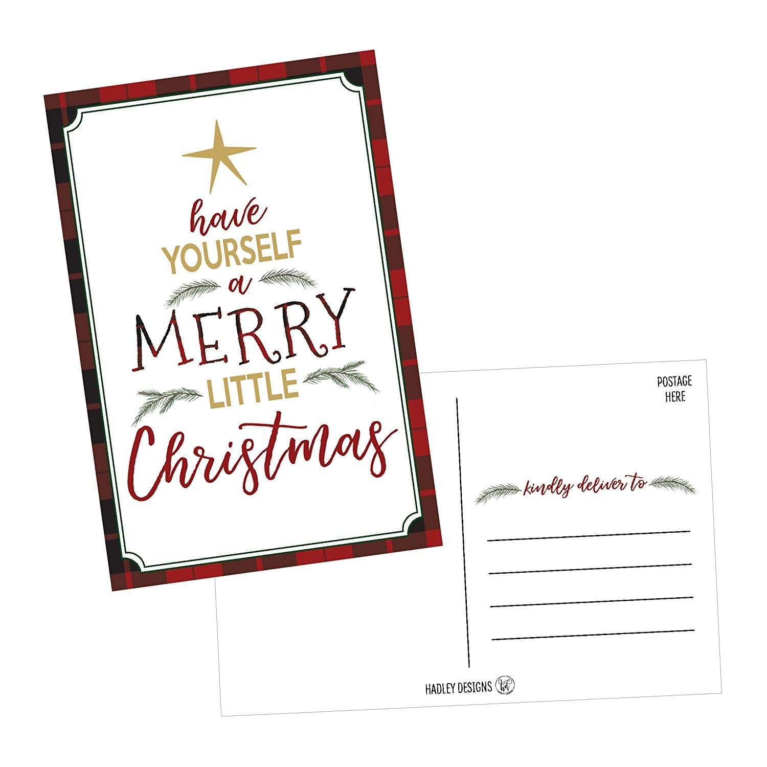 50 Tree Holiday Greeting Cards Cute Fancy Blank Winter Christmas