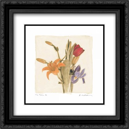 Tre Fiori III 2x Matted 20x20 Black Ornate Framed Art Print by Melious,