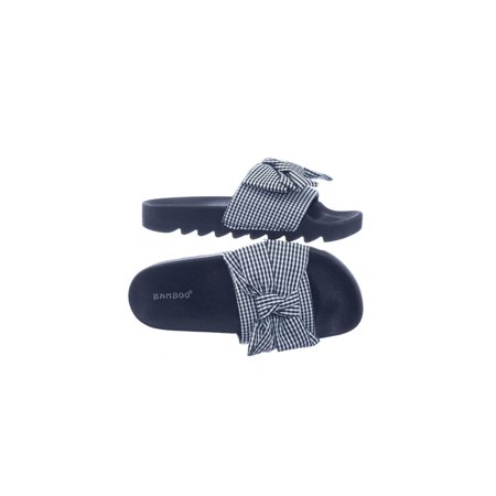 Purity01 by Blossom, Lug Sole Gingham Checker Sporty Slide Molded Footbed Flat Sandal