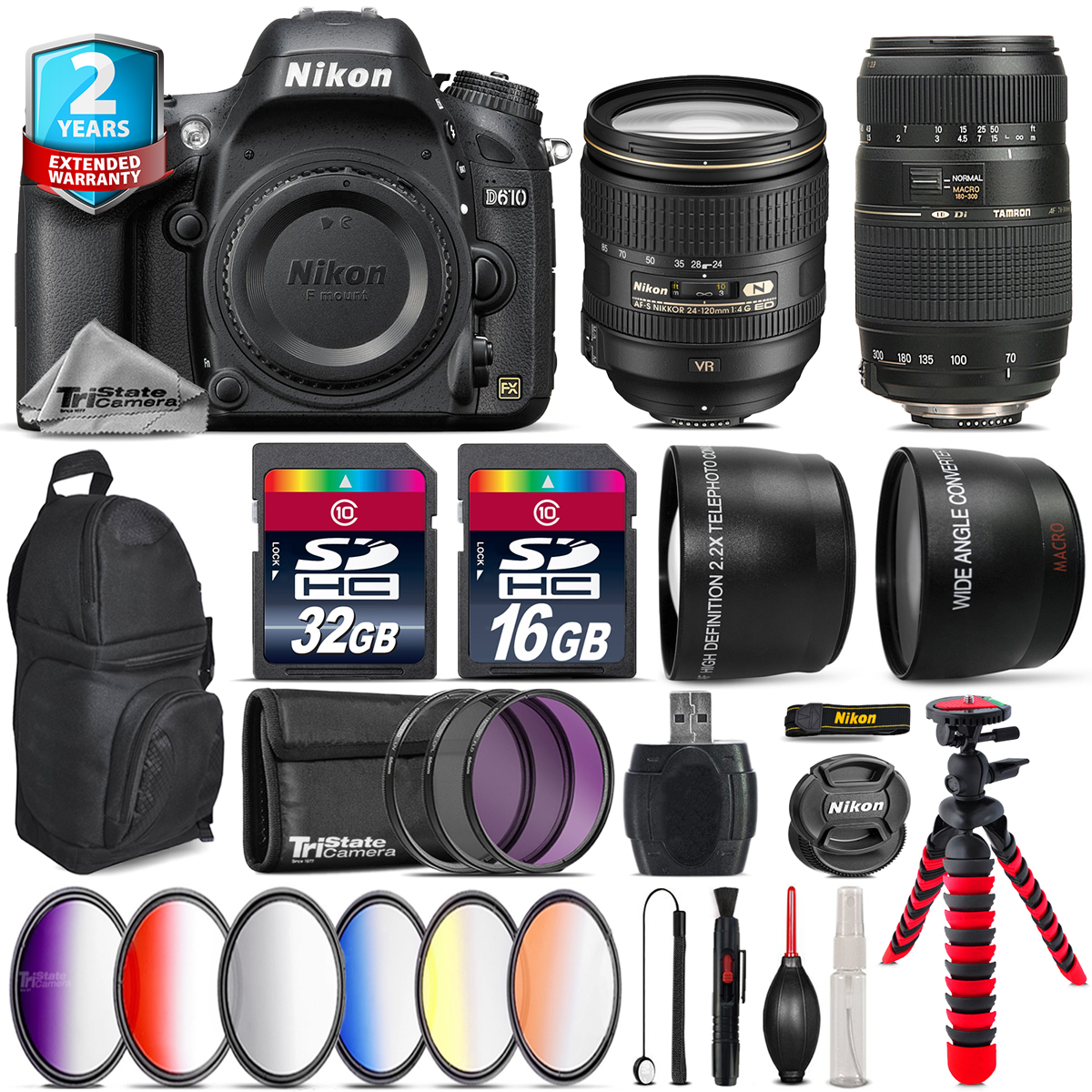 Nikon D610 DSLR Camera + AFS 24-120mm VR + Tamron 70-300mm + Backpack 48GB Kit by Tri StateCamera