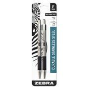 Zebra Pen F-301 ballpoint stainless steel retractable pen, 0.7mm, black ink, 2-pack