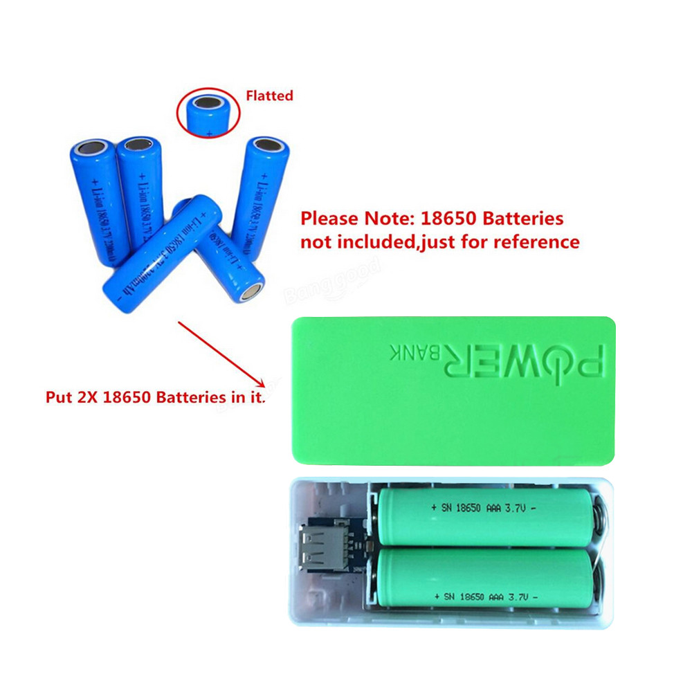 Tuscom 5600mAh 2X 18650 USB Power Bank Battery Charger Case DIY Box For iPhone Sumsang
