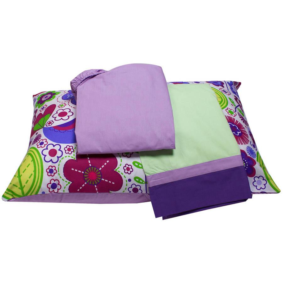 Bacati  -  Botanical 3 - Piece 100% Cotton Percale Toddler Sheet Set, Purple
