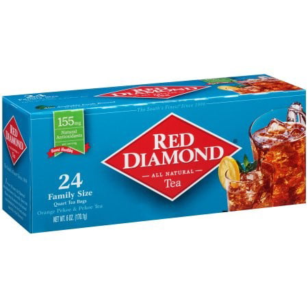 (4 Boxes) Red Diamond All Natural Orange Pekoe & Pekoe Tea Bags, 24 Ct