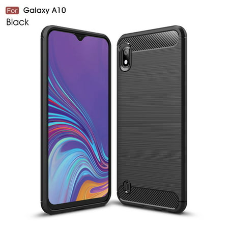 Samsung Galaxy A10 Case, Dteck Lightweight Soft TPU Brushed Carbon Fiber Design Anti-Fingerprint Protective Phone Case Cover for Samsung Galaxy A10 (Black Brushed TPU) (Carbon Fiber Smart Cover)