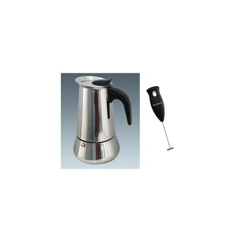 Ovente MPE04 4-cup Stainless Steel Stovetop Espresso Maker plus Mr.  Coffee Handheld Battery Powered Milk Frother