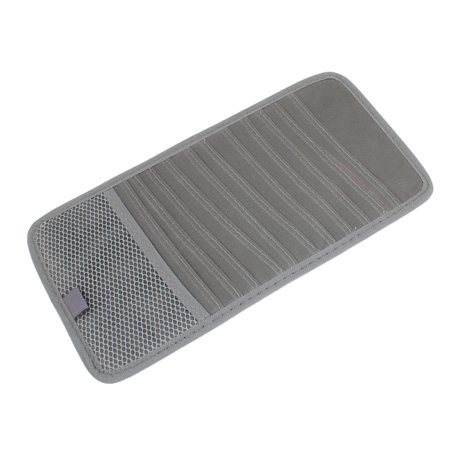 Unique Bargains Gray 12 Compartments Sun Visor CD Holder Pocket Case 30.5 x 15.5cm for Auto