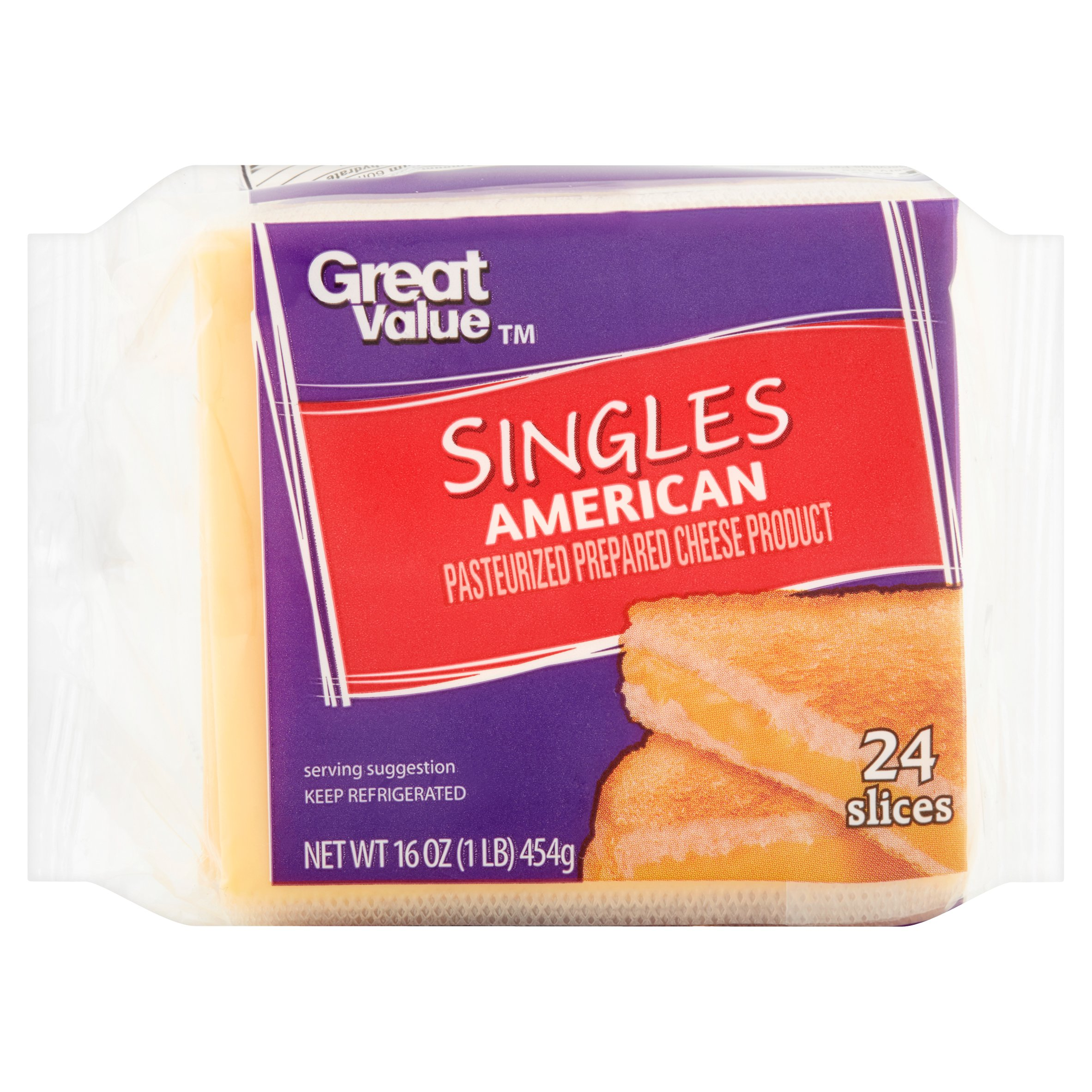 Great Value Singles American Cheese, 24 count, 16 oz by Wal-Mart Stores, Inc.