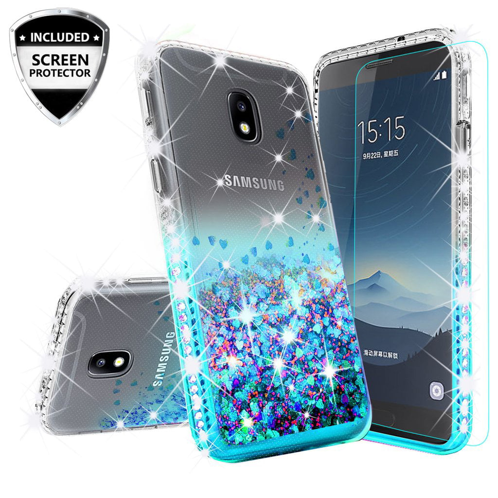 new products 39bf7 f8968 For StraightTalk Samsung Galaxy J7 Crown (S767VL) Case w/Tempered Glass  Cute Liquid Glitter Bling Phone Case for Girls Women - Aqua/Clear
