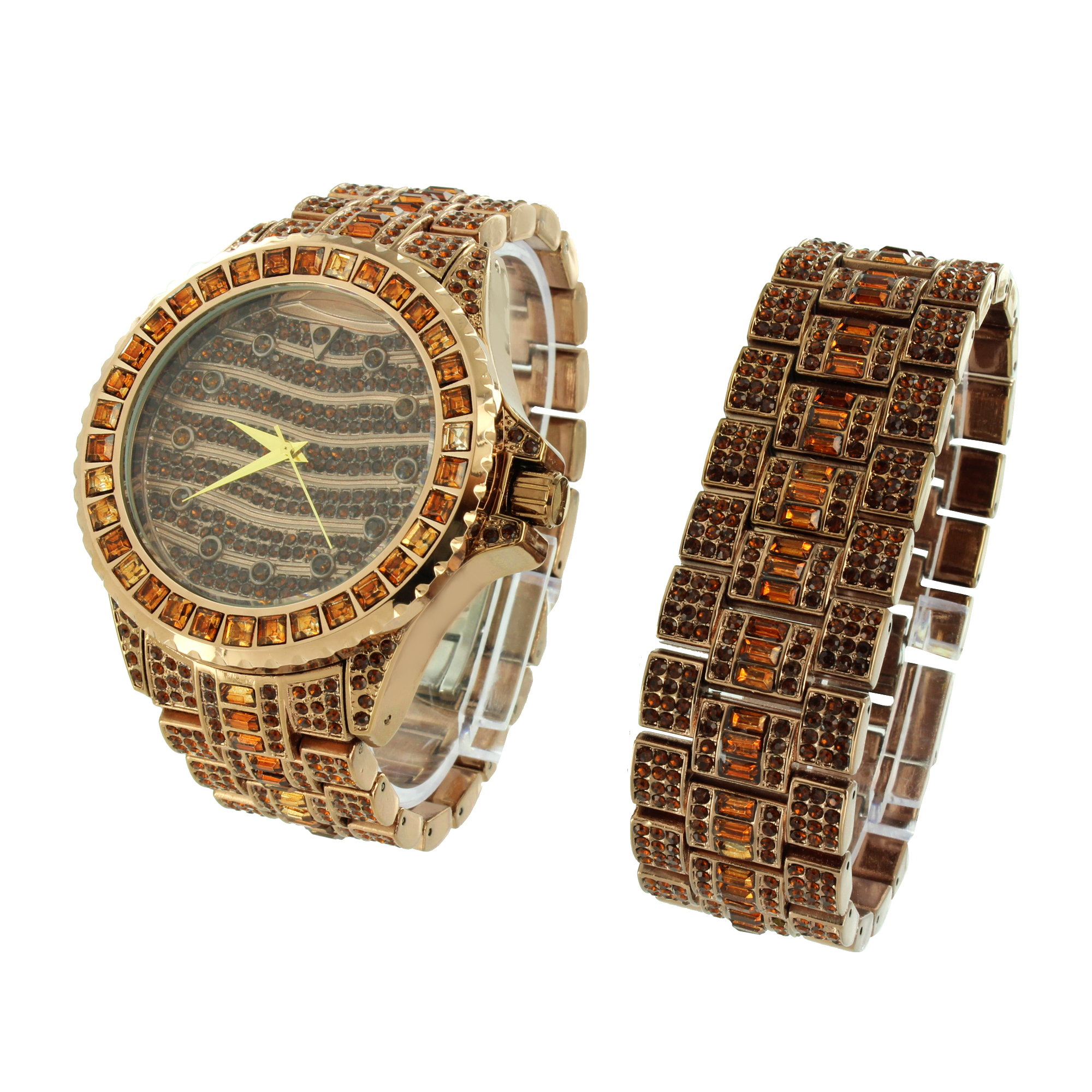 Mens Brown Fully Iced Out Watch Bracelet Brand New Stainless steel Back Simulated Diamond