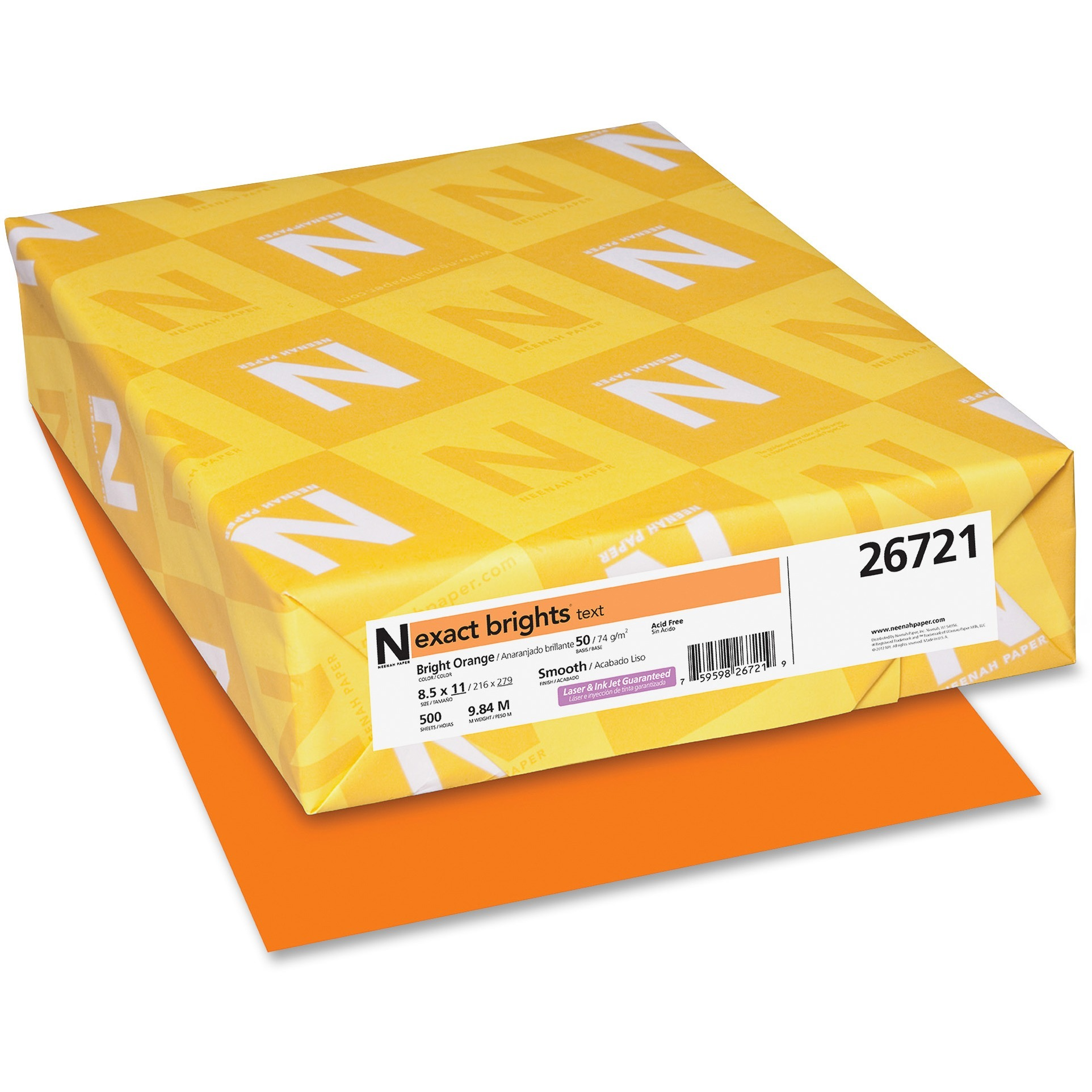 Exact, WAU26721, Brights Color Paper, 500 / Pack, Bright Orange