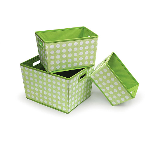 Badger Basket - Nesting Trapezoid 3 Basket Set, Sage Polka Dots