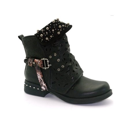 Women Studded Goth Zip Combat Ankle Boots Hollow Carved Tube Buckle Martin Boots ()