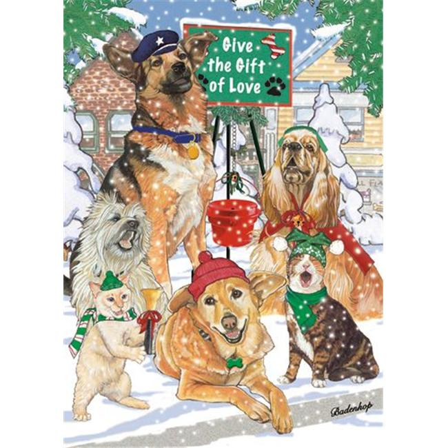 Pipsqueak Productions C520 Mix Dog With Cat Holiday Boxed Cards