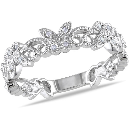 Diamond Accent Butterfly Ring in 10kt White Gold