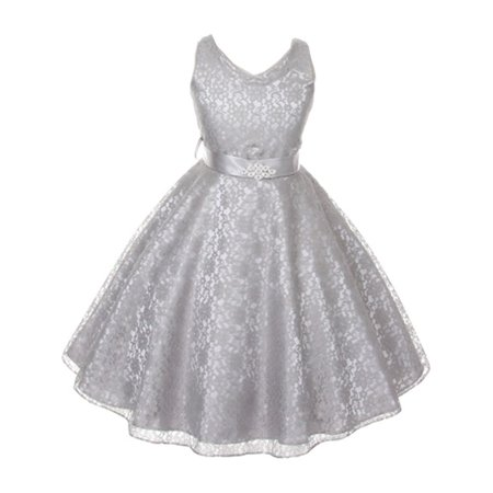 Good Girl Girls Silver Lace Brooch Accent Junior Bridesmaid Dress - Girls Silver Dresses
