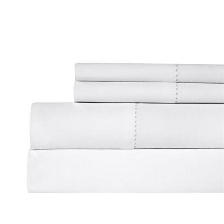 Aspire Linens HEM-500CTN-WHT-KG Hemstitch 500 Thread Count 100 Percent Cotton Sheet Set - King - White Wht 50 Sheet