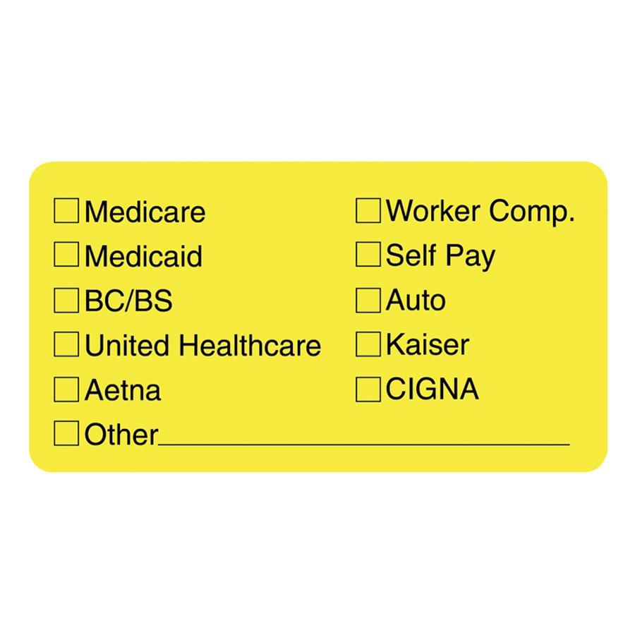 Tabbies, TAB02940, Medical Office Insurance Check Labels, 250 / Roll, Yellow