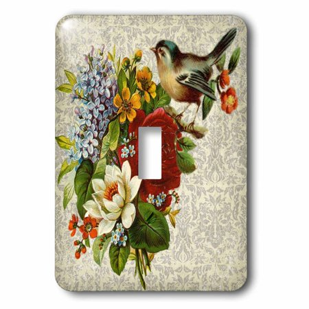 3dRose Vintage and Retro Flowers with Bird Roses Blooms - Single Toggle Switch