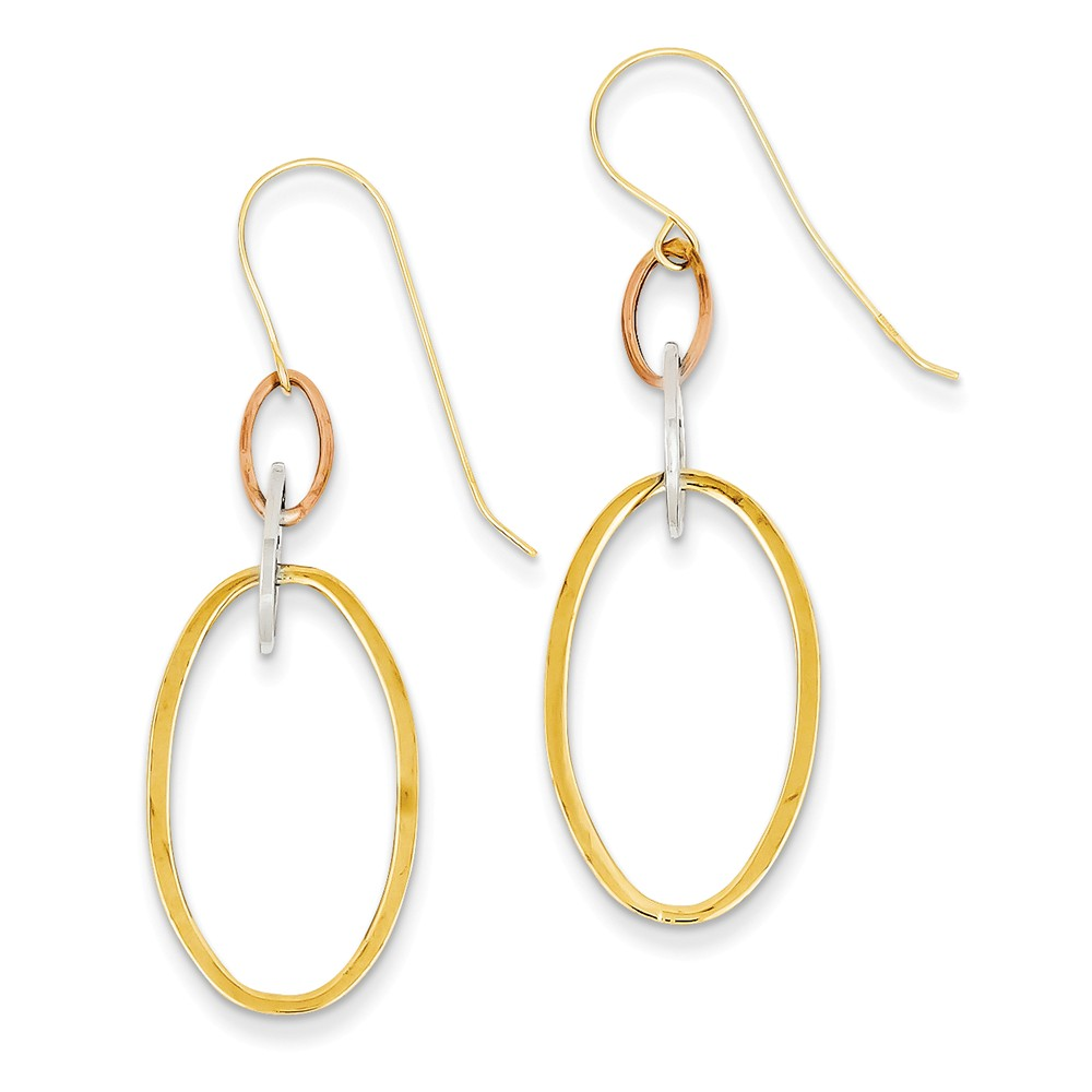 14K Three Tone Gold Hollow Wire Oval Earrings (1.8IN x 0.5IN )