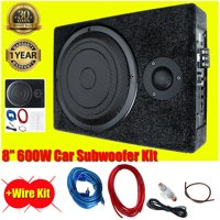 8'' 600W 12V Powerful Under-Seat Car Audio Subwoofer Slim High Power Amplifier Amp S uper Bass Speaker For Car/Truck + Wiring Kit