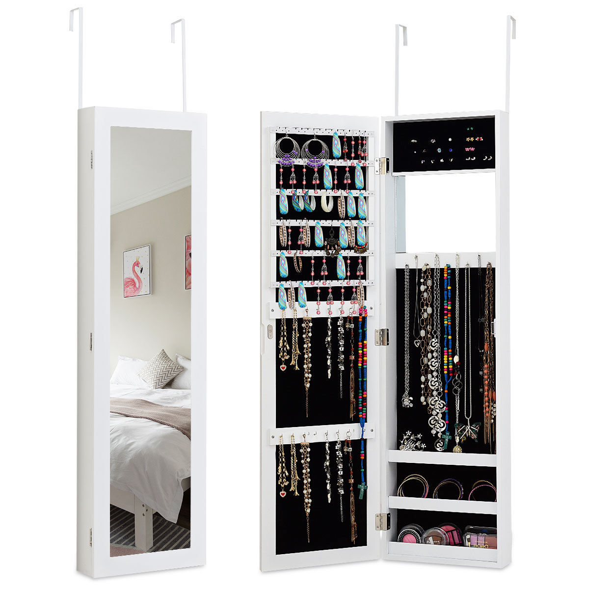 Costway Wall Door Mounted Mirrored Jewelry Cabinet Armoire Storage Organizer White