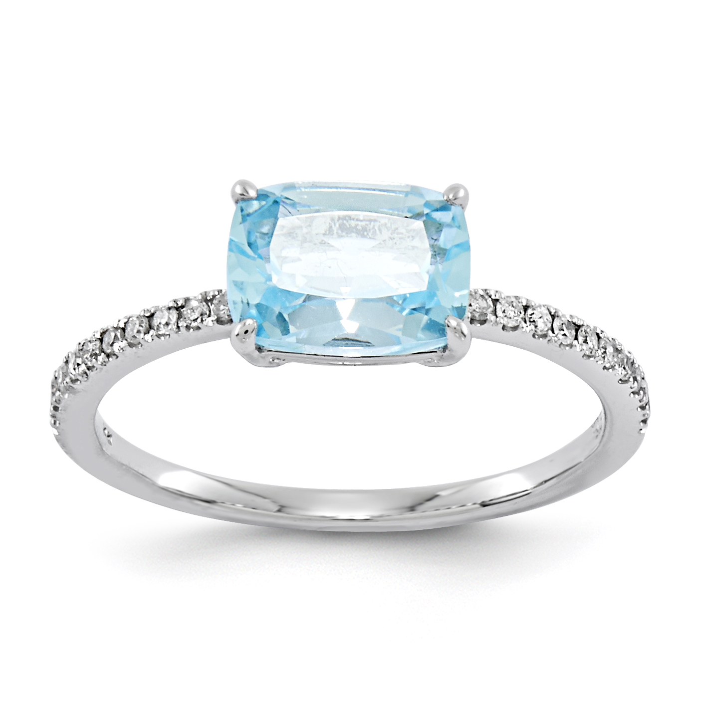 14k White Gold Diamond and Blue Topaz Square Ring by Saris and Things QG