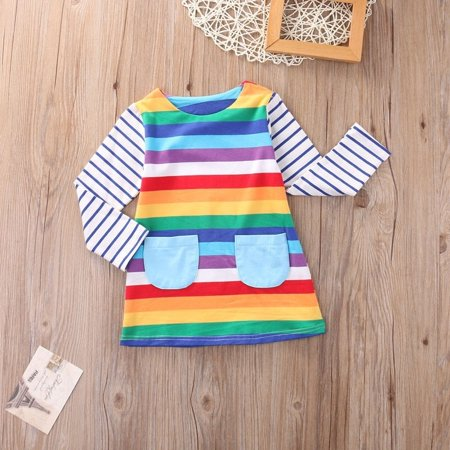 New Toddler Kid Girls Long Sleeve Dress Casual Rainbow Color Dress Winter Clothes 1-7 Y (Casual Girl Dresses)