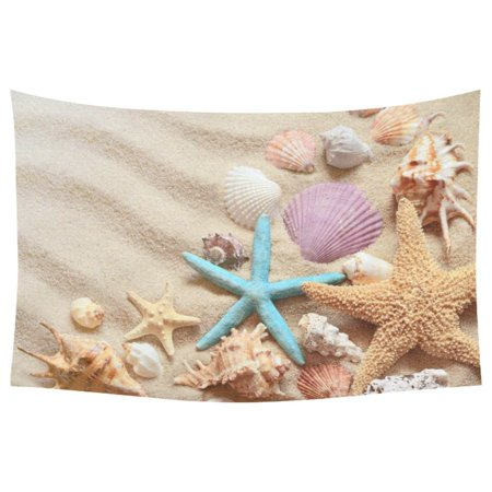 PHFZK Summer Sandy Beach Home Decor Wall Art, Seashells and Starfish Tapestry Wall Hanging 60 X 90 Inches