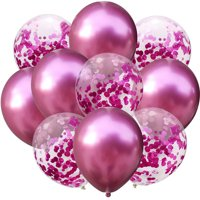 10pcs/set Confetti Balloon and Metallic Balloons Mixed Amazing Shinning Sight for Your Party Wedding Bedroom Decoration