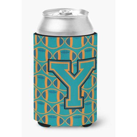 Letter Y Football Aqua, Orange and Marine Blue Can or Bottle Hugger - Blue Footballs