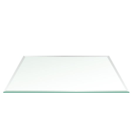 "24"" x 48"" Rectangle Glass Top 1/2"" Thick - 1"" Bevel Edge With 1"" Radius Corners"