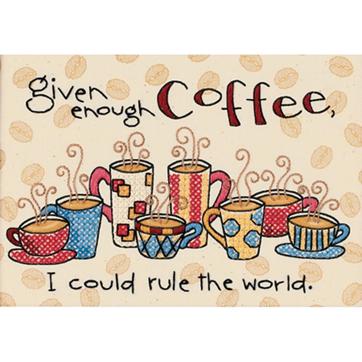 "Dimensions ""Enough Coffee"" Mini Stamped Cross Stitch Kit, 7"" x 5"""