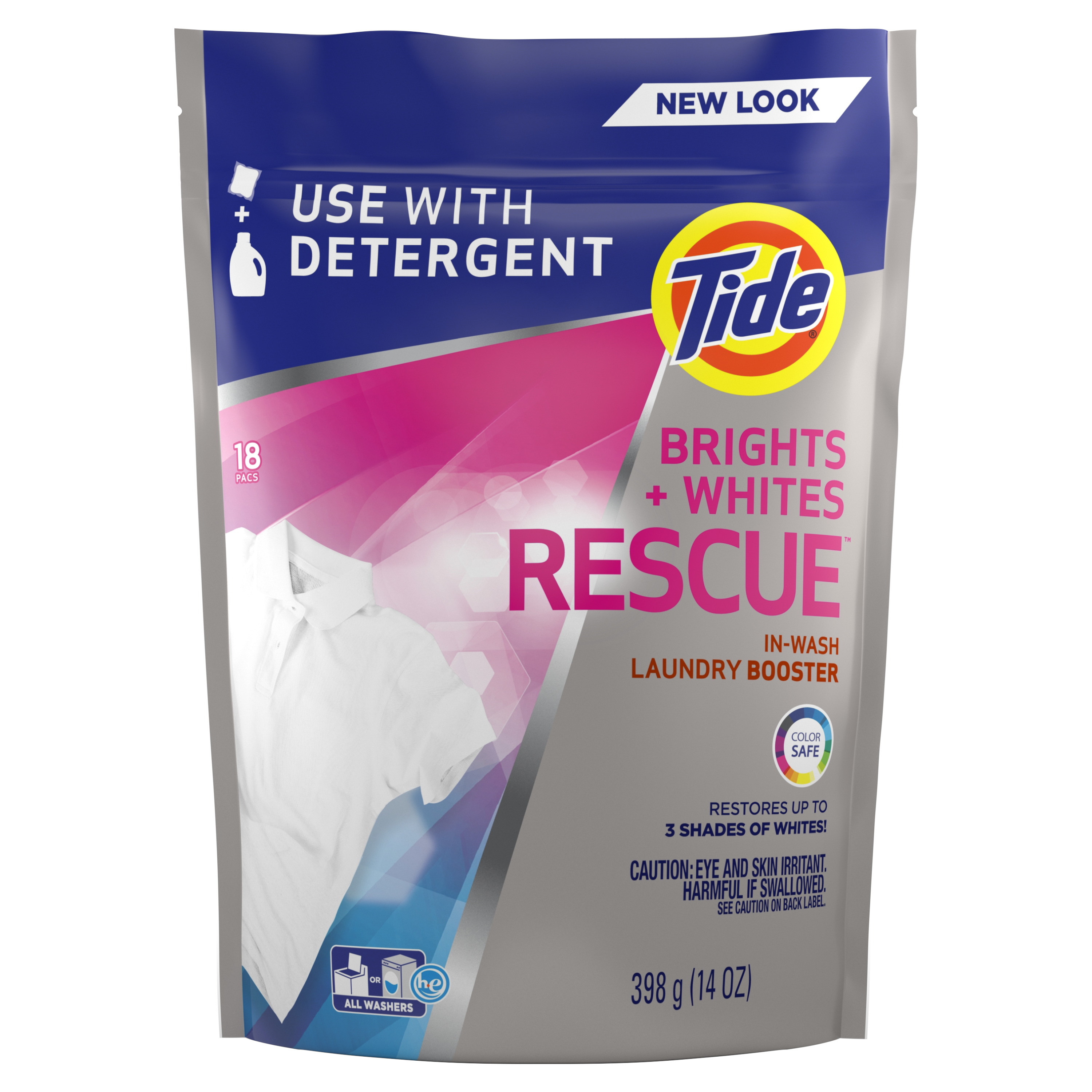 Tide Bright + Whites Rescue In-Wash Laundry Booster, 18 pacs