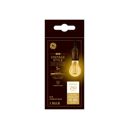 GE LED 5W Vintage General Purpose, A19 Spiral Filament, Amber Finish, Medium Base, Dimmable, 1pk Light -