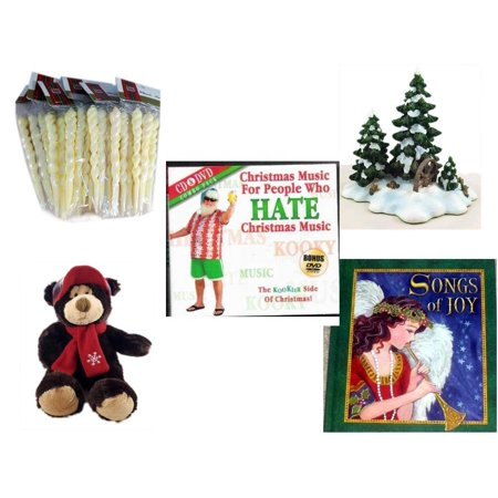 - Christmas Fun Gift Bundle [5 Piece] - Brite Star Classic Trims Iridescent Icicles Ornament Set 24 - Dept. 56 Village Accessory Wagonwheel Pine Grove -  Music For People Who Hate  Music CD & DVD Comb