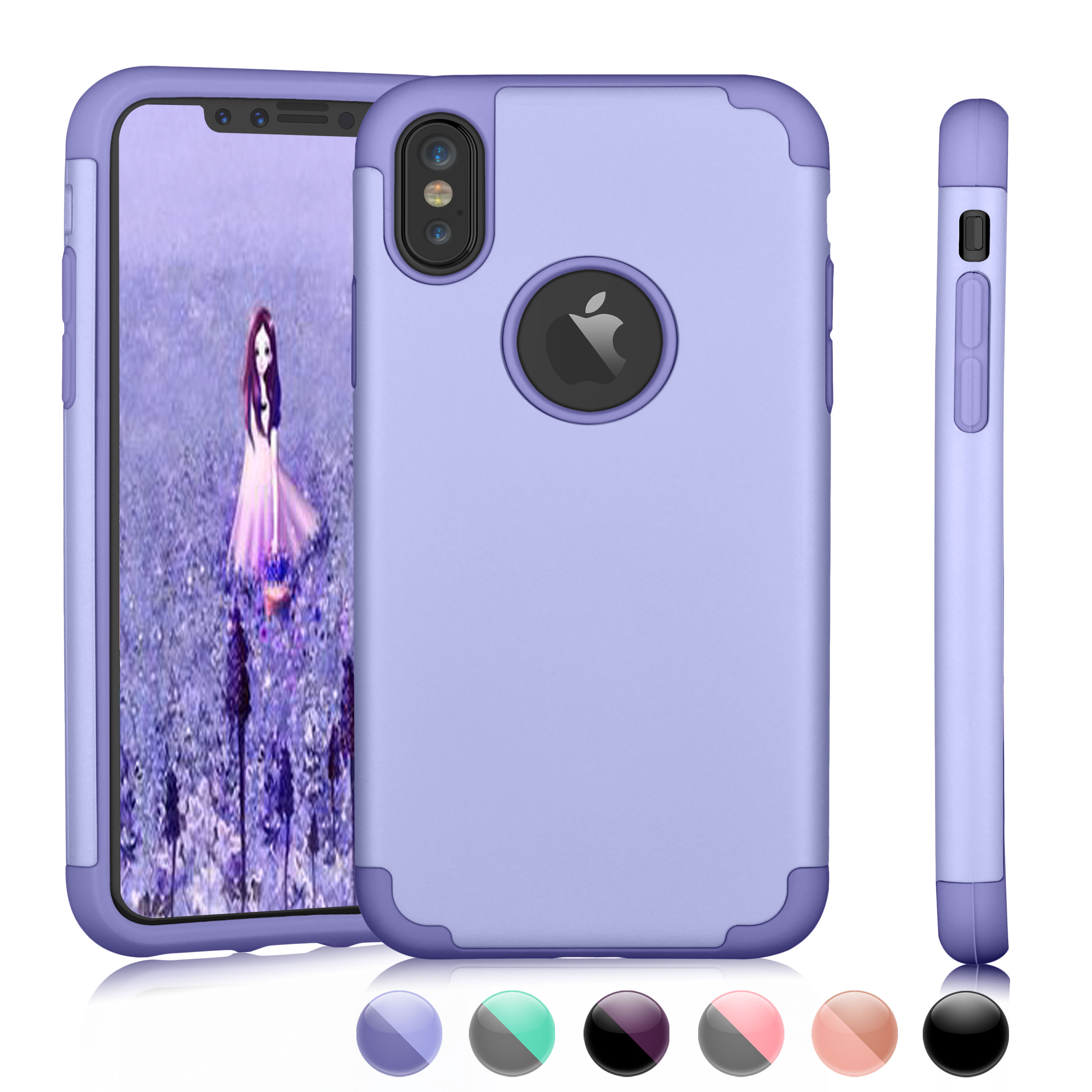 "iPhone X Case,iPhone 10 Case,iPhone X Edition Case, Njjex Matte Finish Flexible Soft Gel TPU Cover Shell Skin [Slim Fit] [Ultra Thin] For Apple 5.8"" iPhone X /iPhone 10 (2017 Release)-Purple"
