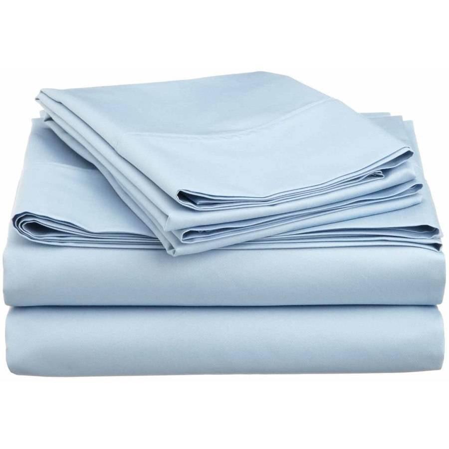 Superior 600 Thread Count Wrinkle-Resistant Luxury Cotton Blend Deep Pocket Solid Sheet Set