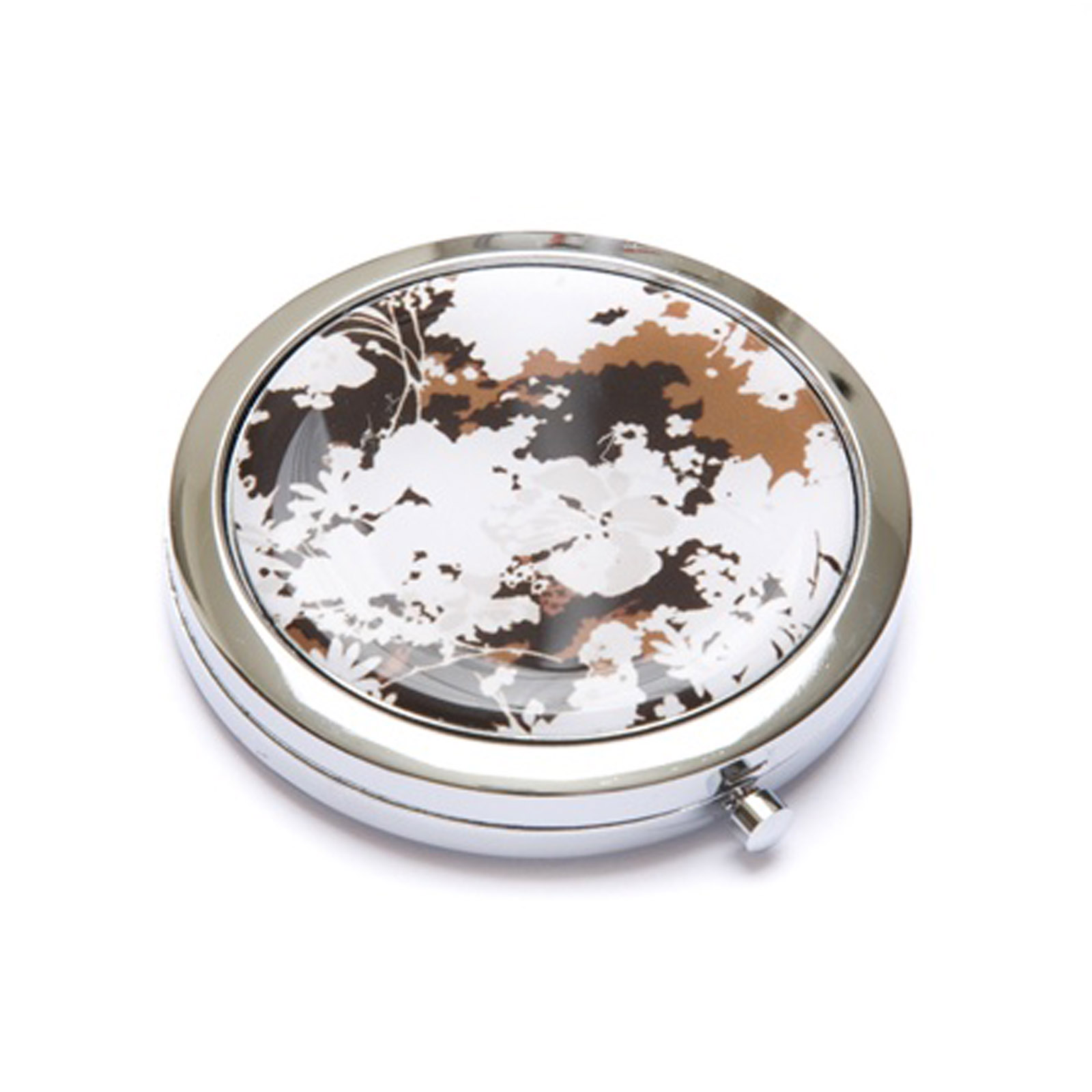 Brown Forest Metal Cosmetic Makeup Travel Purse Mirror