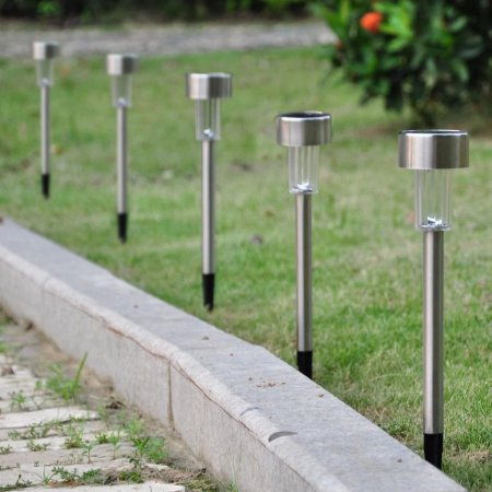 Zimtown 24pcs Solar Outdoor LED Light, Stainless Steel Path Walkway Lights for Landscape, Patio, Driveways and (Mushroom Outdoor Landscape Path Light)