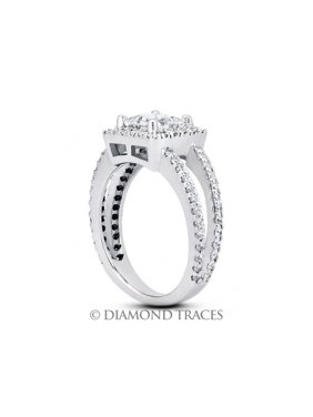 2.45ct tw G-SI2 Ideal Princess Genuine Diamonds 14k Gold Halo Wedding Ring 5.6mm