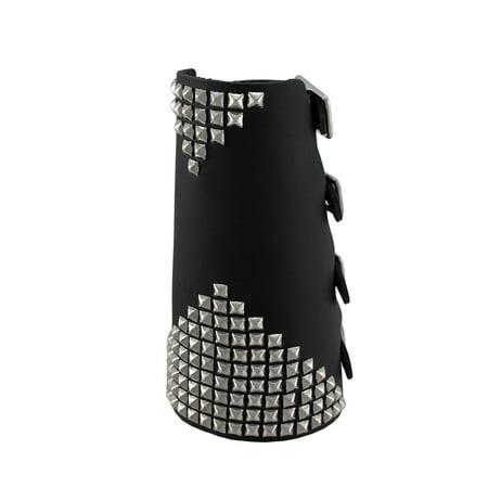 - Black Leather Metal Pyramid Studded Gauntlet Wristband