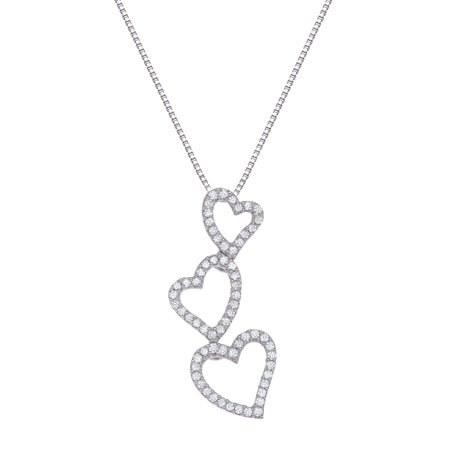 1/5 ct Diamond Triple Heart Pendant Necklace in 14kt White Gold