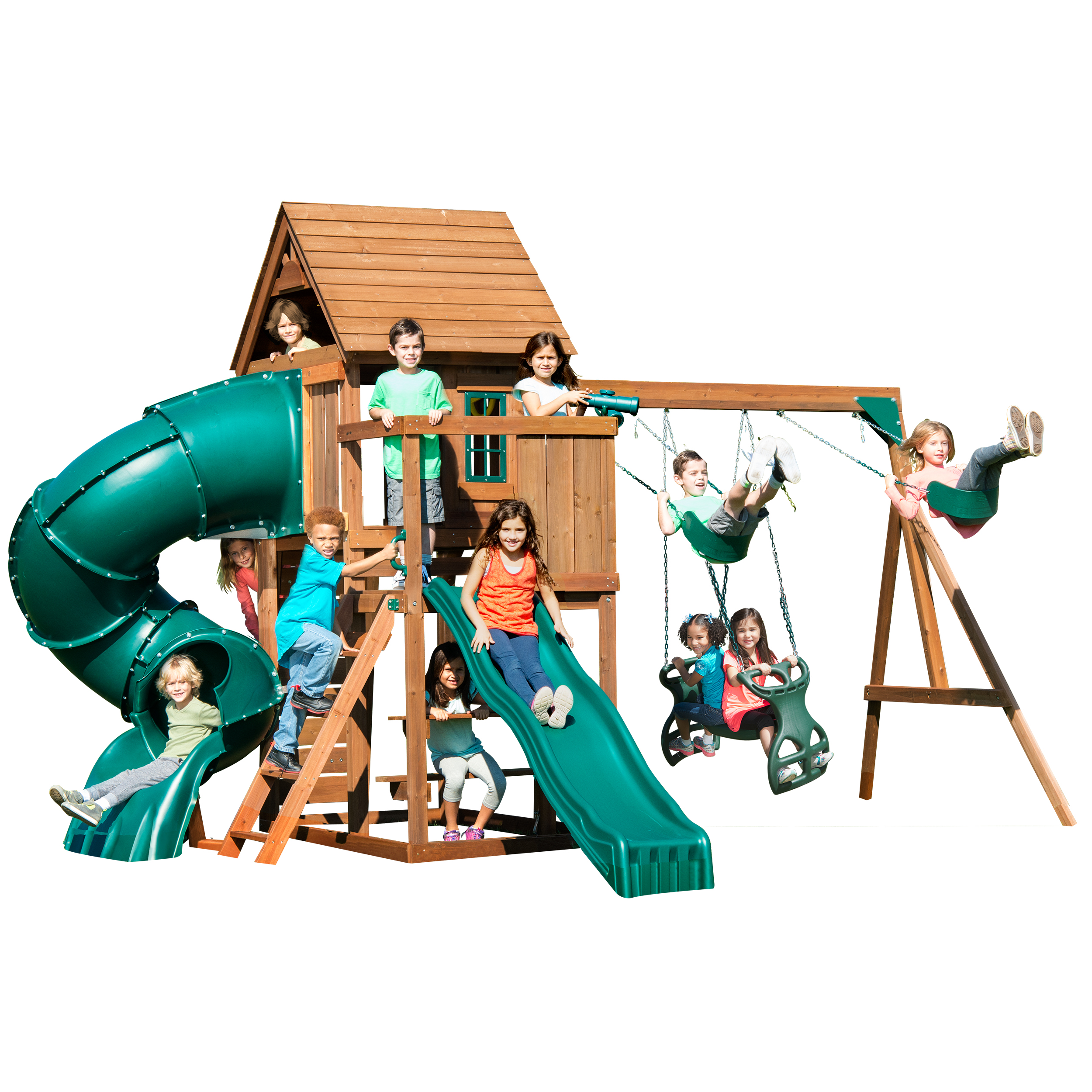 Swing-N-Slide Tremont Tower Wooden Complete Play Set with Two Slides