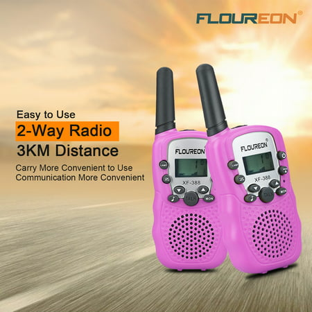 Walkie Talkies for Kids, FLOUREON 22 Channel Two-Way Radio Best for Kids Long Range 3000M Handheld Outdoor Interphone/Portable Toy Radio Transceiver(2