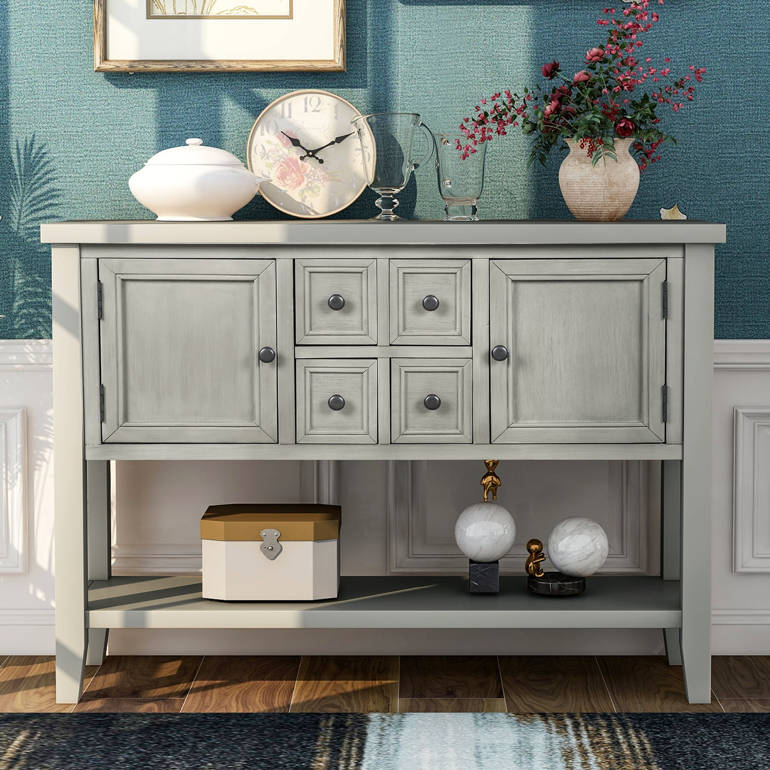 Picture of: Buffet Cabinet Sideboard 46 Dining Room Console Table W 4 Storage Drawers 2 Cabinets 1 Bottom Shelf Buffet Server Cabinet Kitchen Console Table Home Furniture Side Cabinet Antique Grey Q3687 Walmart Com Walmart Com